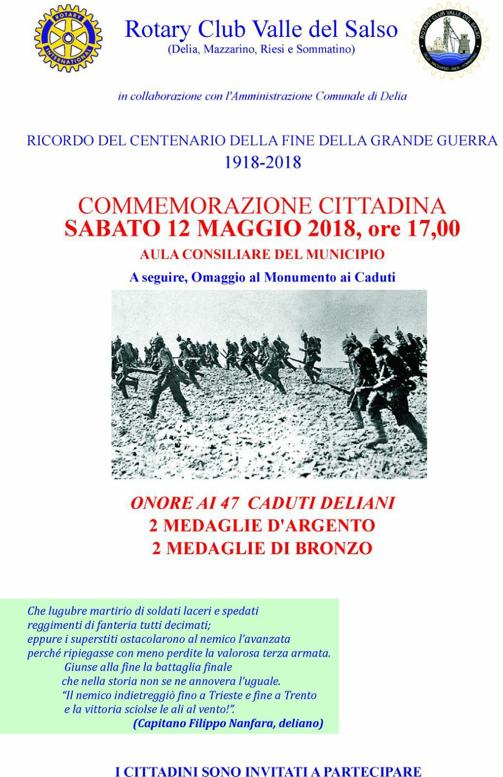 RICORDO DEL CENTENARIO DELLA FINE DELLA GRANDE GUUERRA 1918-2018