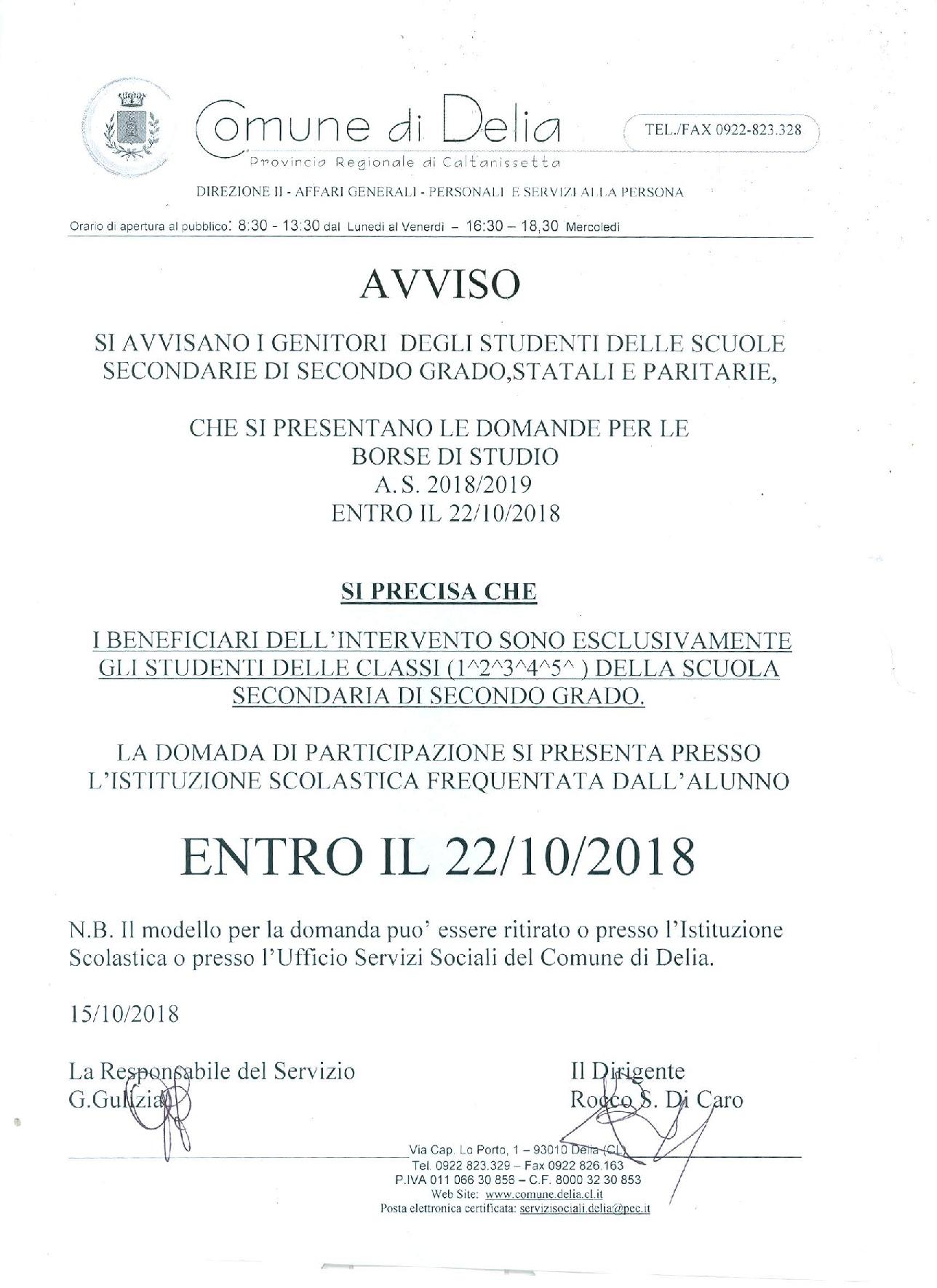 BORSE DI STUDIO.