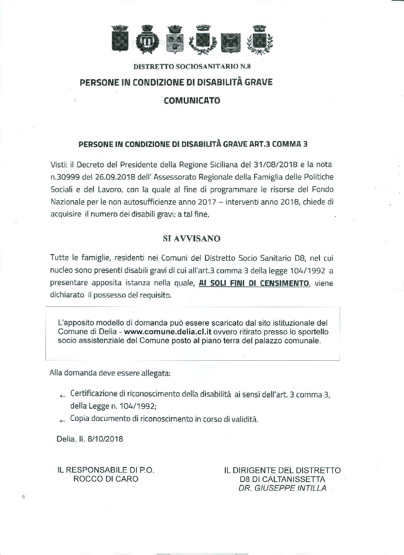 COMUNICATO - PERSONE IN CONDIZIONI DI DISABILITA' GRAVE ART. 3 COMMA3.