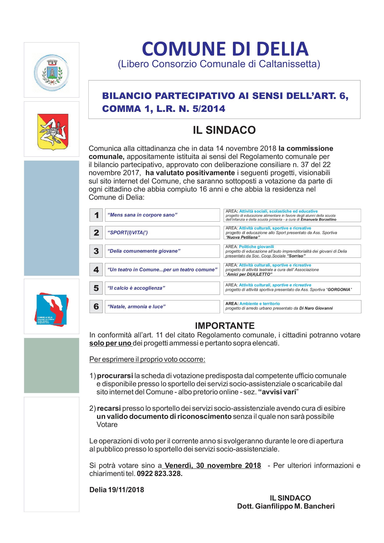 BILANCIO PARTECIPATIVO AI SENSI DELL'ART. 6, COMMA 1, L.R. N. 5-2014