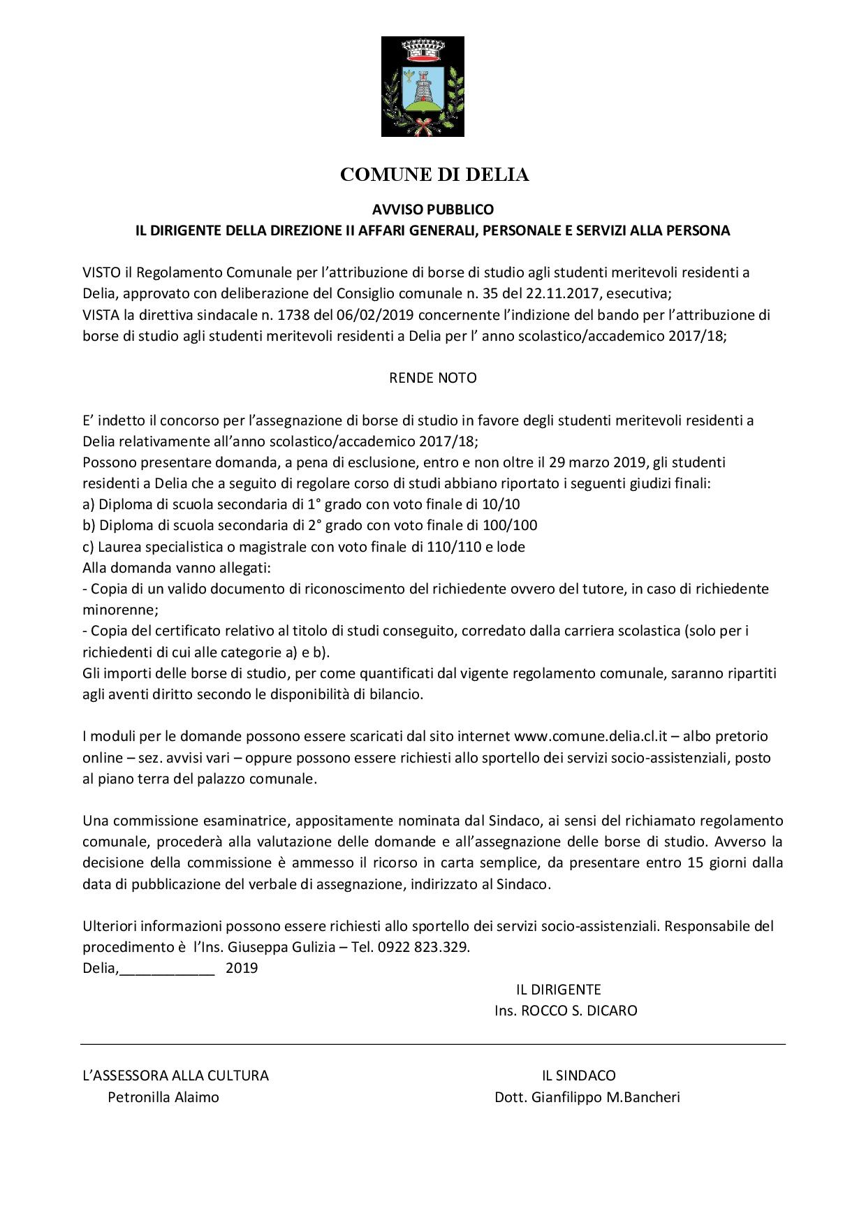 ebb02a3f2c AVVISO – BORSE DI STUDIO IN FAVORE DEGLI STUDENTI RESIDENTI A DELIA  RELATIVAMENTE ALL'ANNO SCOLASTICO/ACCADEMICO 2017-2018