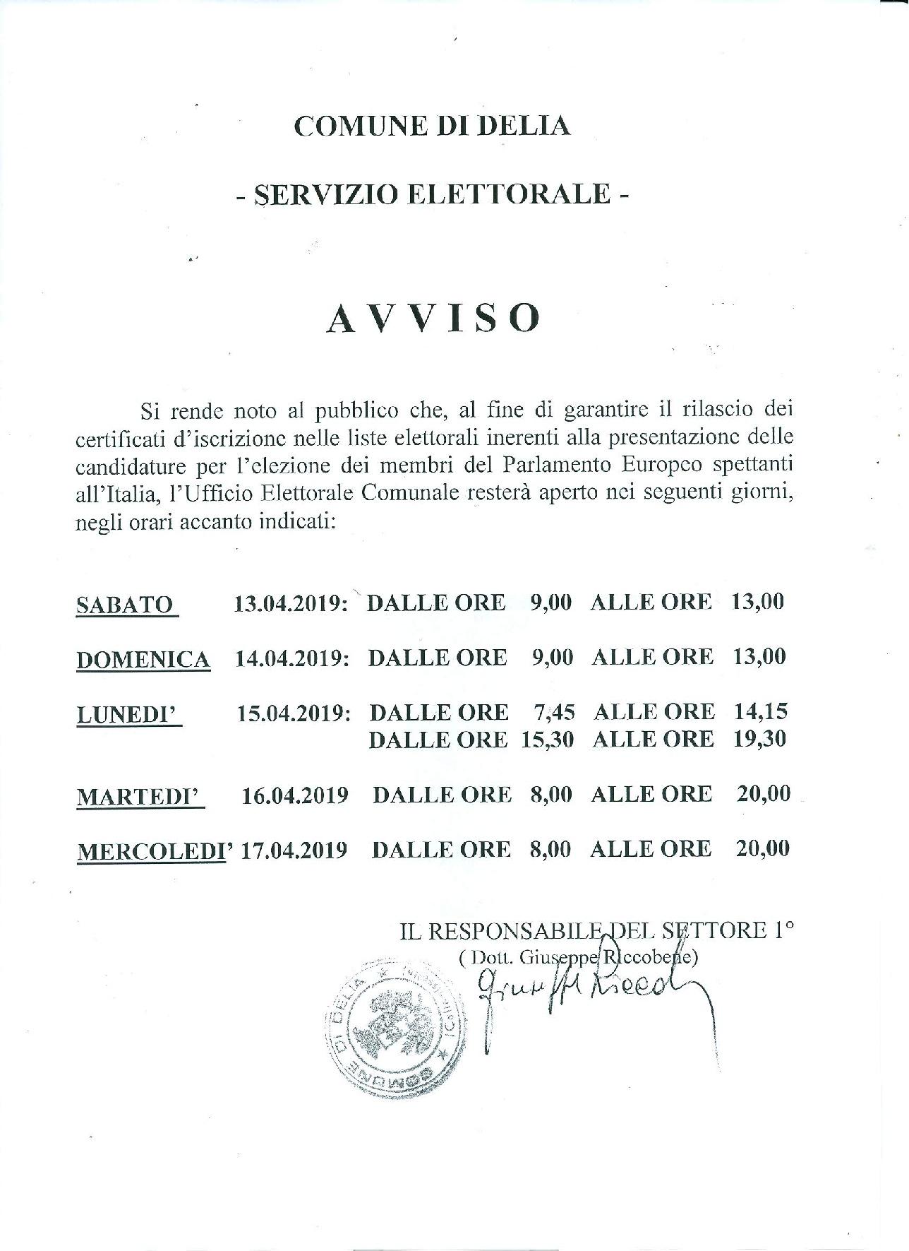 AVVISO - COMUNE DI DELI -SERVIZIO ELETTORALE-