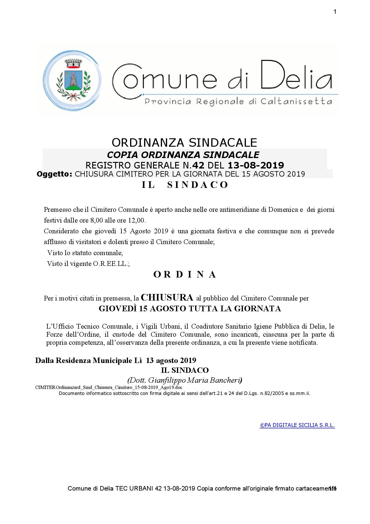 ORDINANZA SINDACALE N. 42 DEL 13-08-2019 - CHIUSURA CIMITERO PER LA GIORNATA DEL 15 AGOSTO 2019