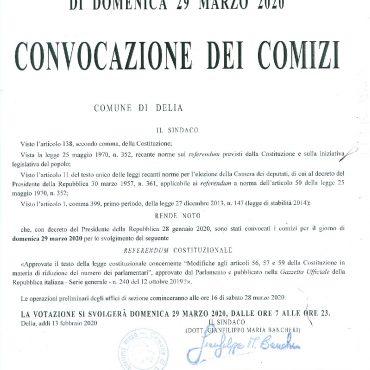 CONVOCAZIONE DEI COMIZI - REFERENDUM COSTITUZIONALE DI DOMENICA 29 MARZO 2020
