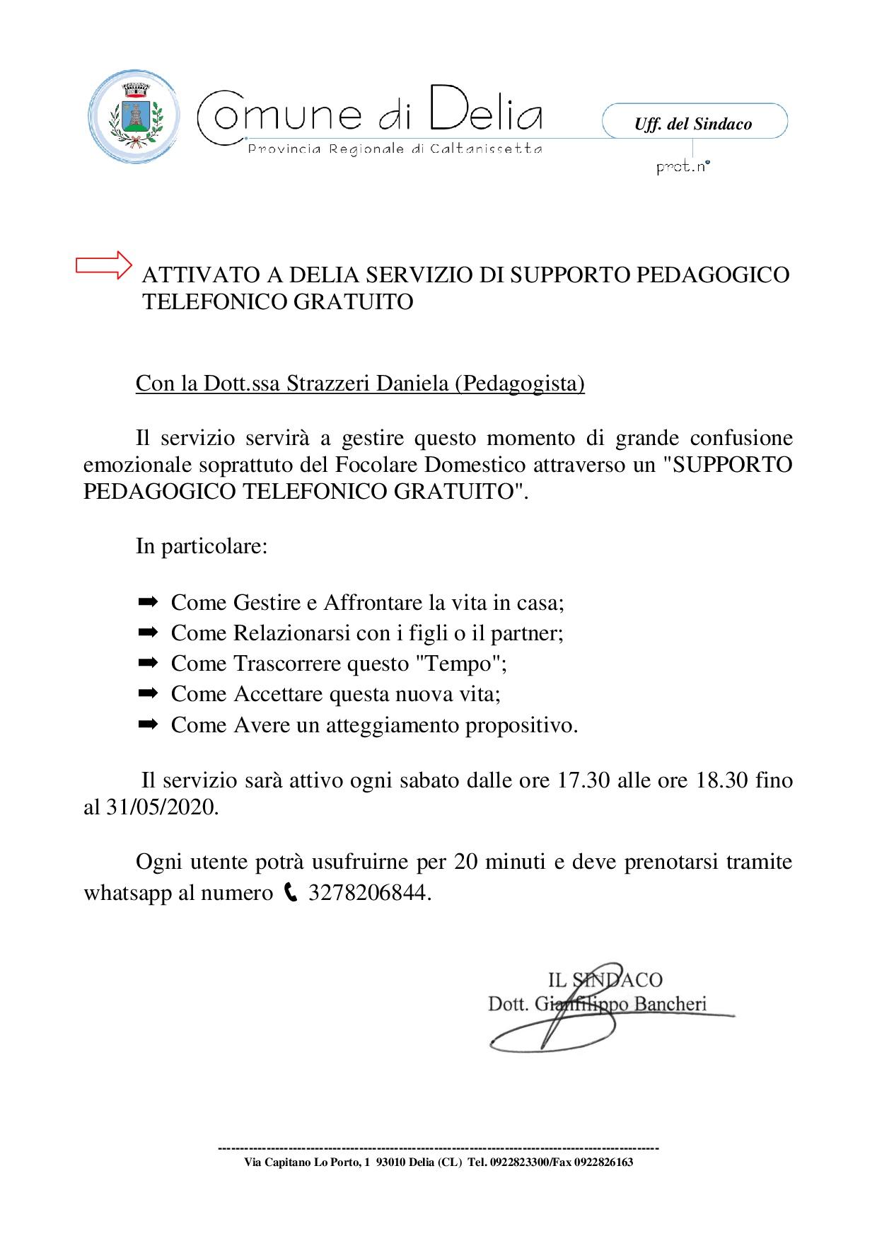 ATTIVAZIONE SERVIZIO DI SUPPORTO PEDAGOGICO