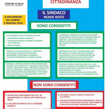 EMERGENZA COVID-19 – (CORONA VIRUS) – AVVISO DEL SINDACO ALLA CITTADINANZA DEL 02 MAGGIO 2020