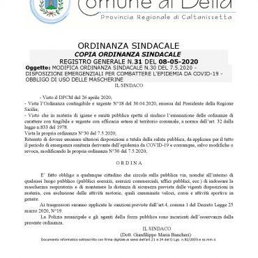 ORDINANZA SINDACALE N. 31 DEL 08-05-2020