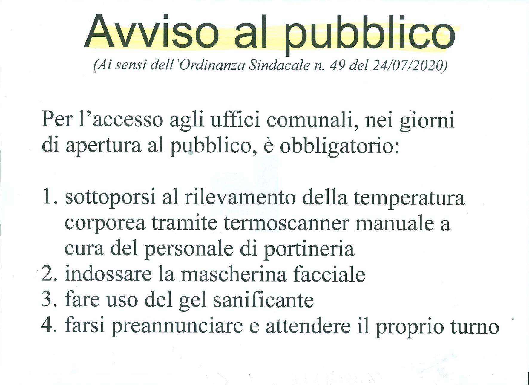 AVVISO AL PUBBLICO