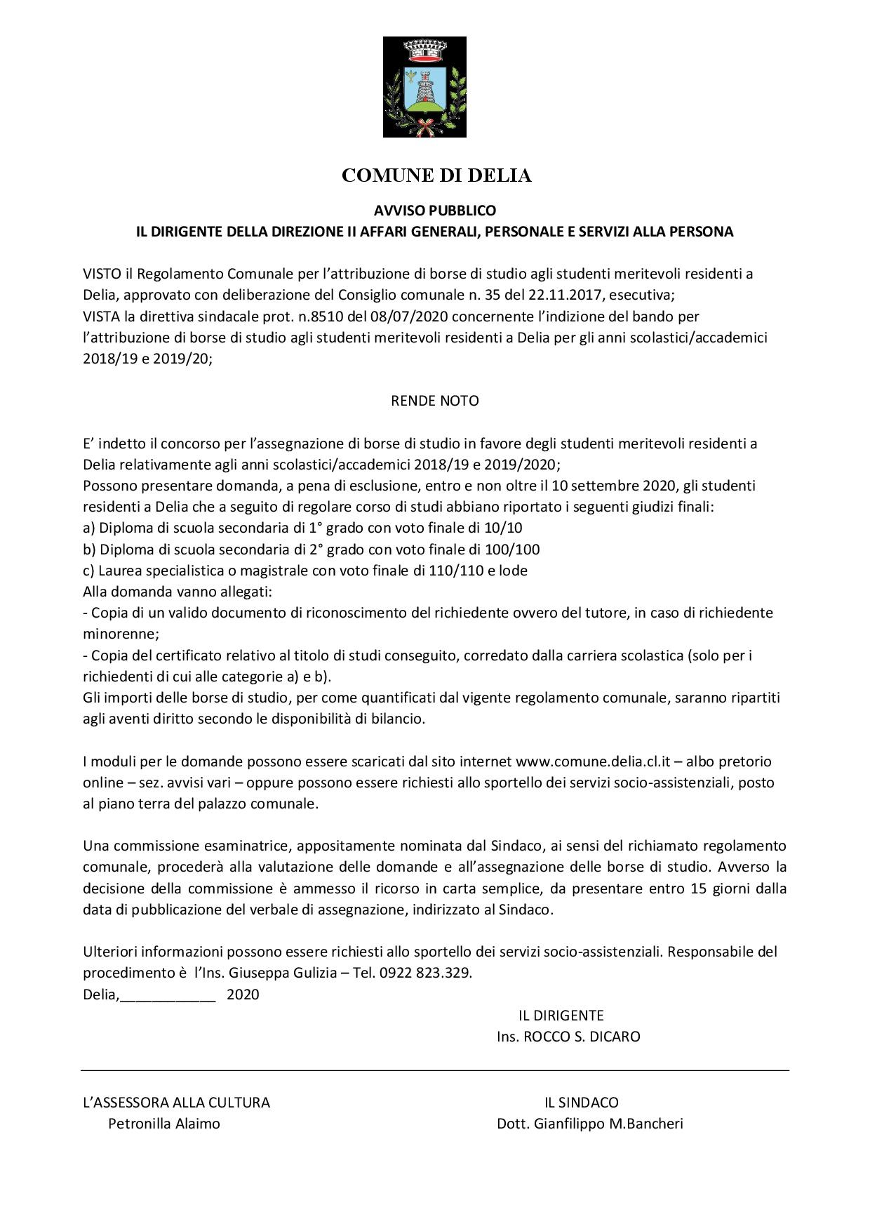 BANDO BORSE DI STUDIO A.S. 2018-19 e 2019-20