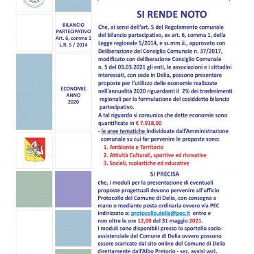 BANDO PROGETTUALE BILANCIO PARTECIPATIVO - ECONOMIE ANNO 2020
